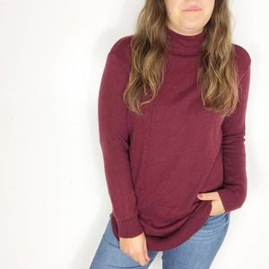CHICO'S | Burgundy Mock Neck Cotton Knit Sweater